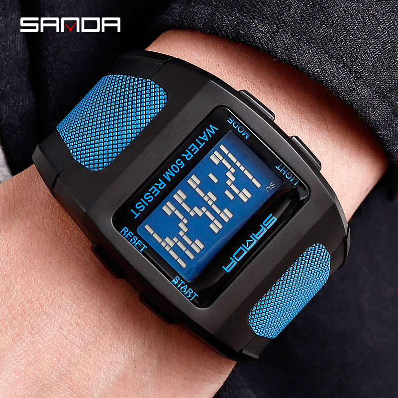 Waterproof Watches Electronic-Watch Digital Sports Sanda Quartz Auto-Date Men Japan Trend