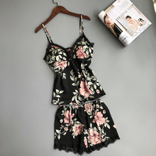 Sexy Satin Sleepwear Sleep Lounge Pajama Set Women Summer Py