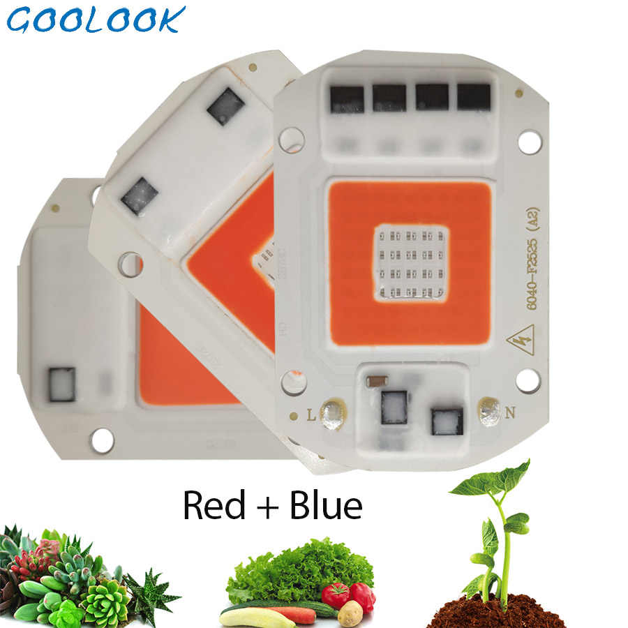 LED COB Grow Chip Light 50W 30W 20W AC 220V 230V Full Spectrum DIY Growth Light Red+Blue Phyto Lamp For Seeding Flower Plant