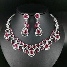 2018 new fashion luxury retro red CZ zircon necklace earring set,wedding bride dinner party banquet dress popular jewelry SET