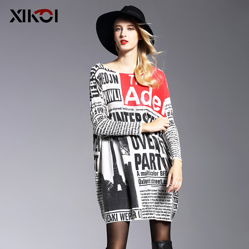 XIKOI Long Oversize Sweater Kvinnor Jumper Casual Batwing Sleeve Print Kvinna Casual Sweaters Pullovers Kläder
