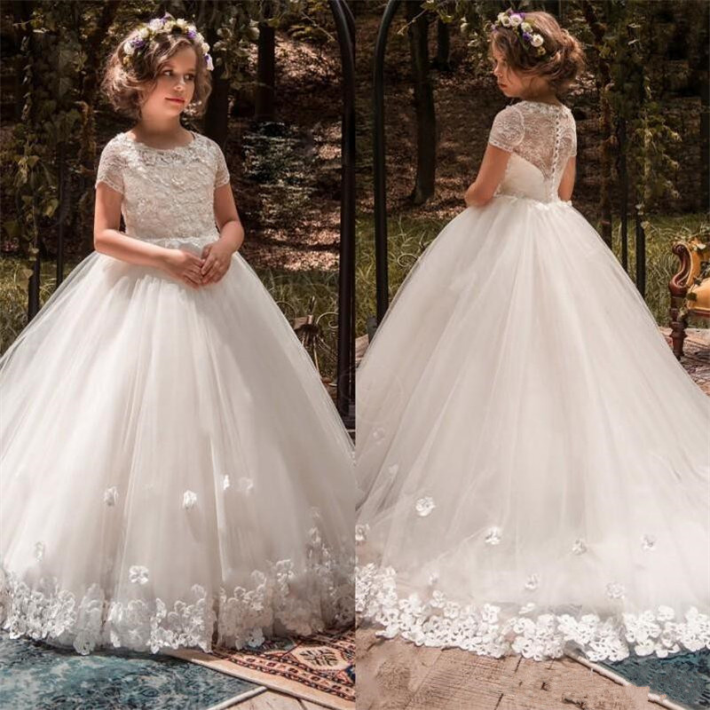 Beautiful White   Flower     Girl     Dress   with 3D Floral Appliques Little   Girls   First Communion Gowns Short Sleeves Best Pageant   Dresses