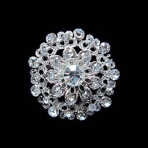 Красивый посеребренный маленький цветок из страз-кристаллов брошь на воротник