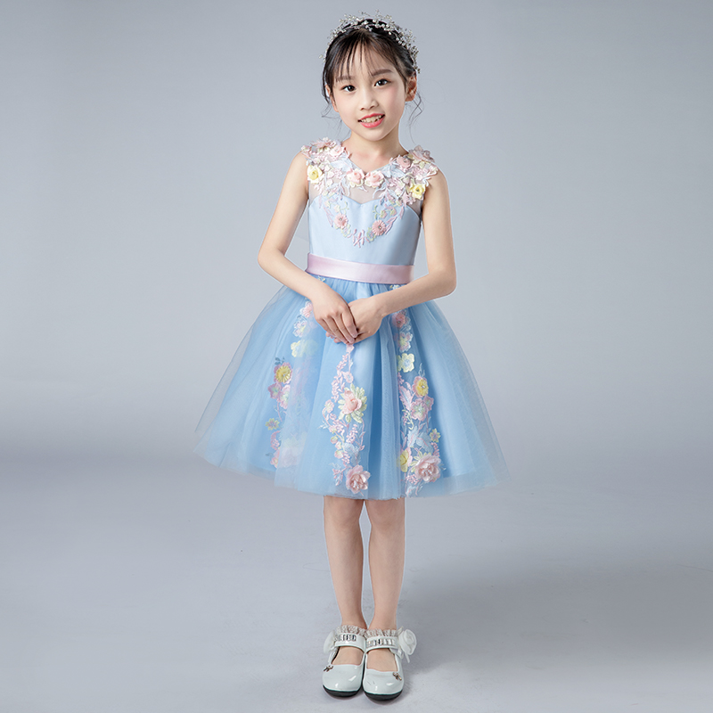 Babies Kids Elegant Sweet Blue Flowers Birthday Wedding Party Prom Short Dress Children Girls Summer Host Tutu Pageant Dress