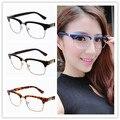 Semi-rimless Armações de Óculos Clássico Popular Resina Óculos de Leitura Das Mulheres Dos Homens Senhoras Decorativas Quadros Nenhum Grau