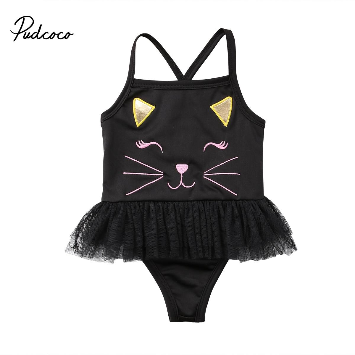 2018 NEW Swimwear Kids Baby Girls Cartoon Cat Tulle One-piece Swimwear Lace Swimsuit Bathing Clothes 1-3T