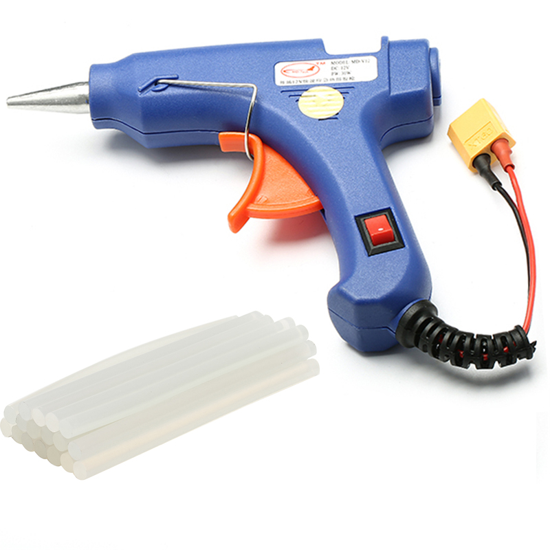 30W Hot Melt Glue Gun With XT60 Plug For RC Models Outfield 3S 12V Heater Heating Wax 7mm Glue Stick DIY Hand Tools remote control color fish tank bubble lamp fish tank diving lamp led oxygen lamp aquarium led lamp