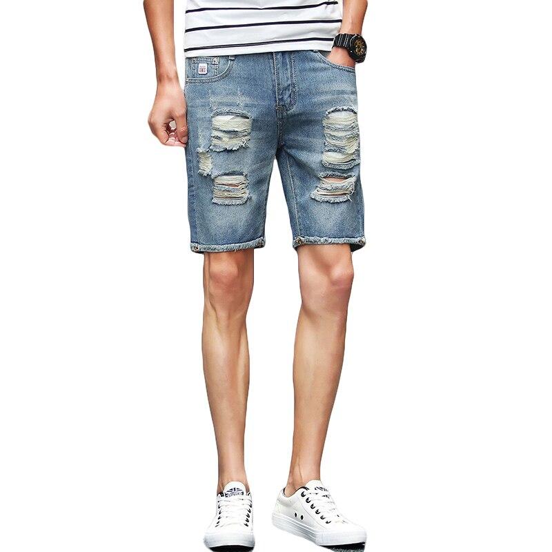 Coton Hommes Déchiré Bleu Nouveau Shorts Jeans 2017 De Trou D'été OPXN0Zwk8n