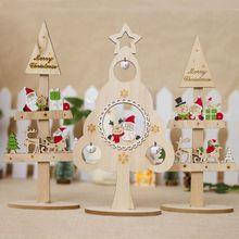 04f232a1bc7 De Madera Mini árbol de Navidad de escritorio adornos Feliz Navidad  decoración de la fiesta de