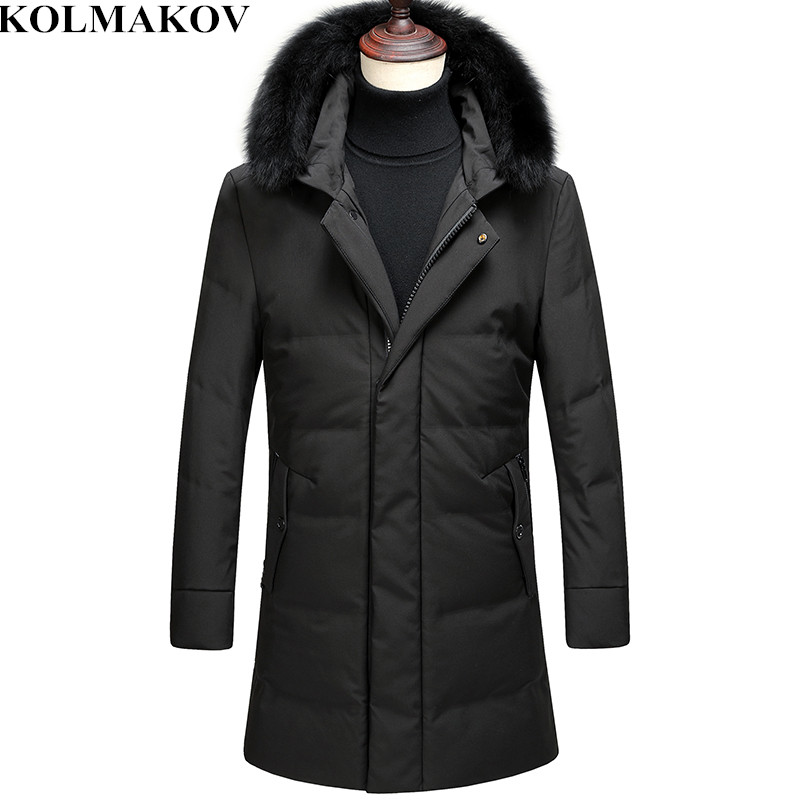 KOLMAKOV Men's Clothing 2018 New Men's 85% White Duck   Down     Coats   with Detachable Fur Collar Homme Winter   Down   Jackets Man M-3XL