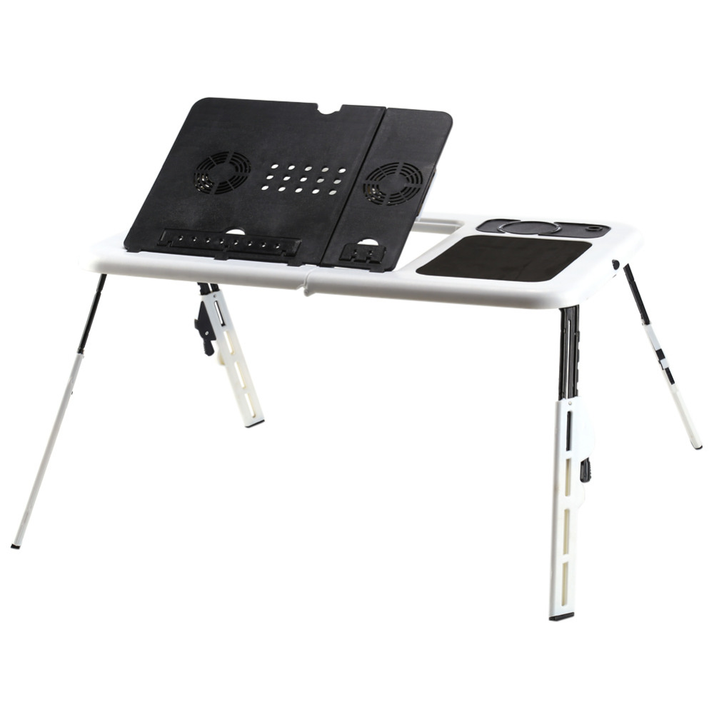 w portable folding laptop desk adjustable computer table stand foldable table cooling fan tray for bed