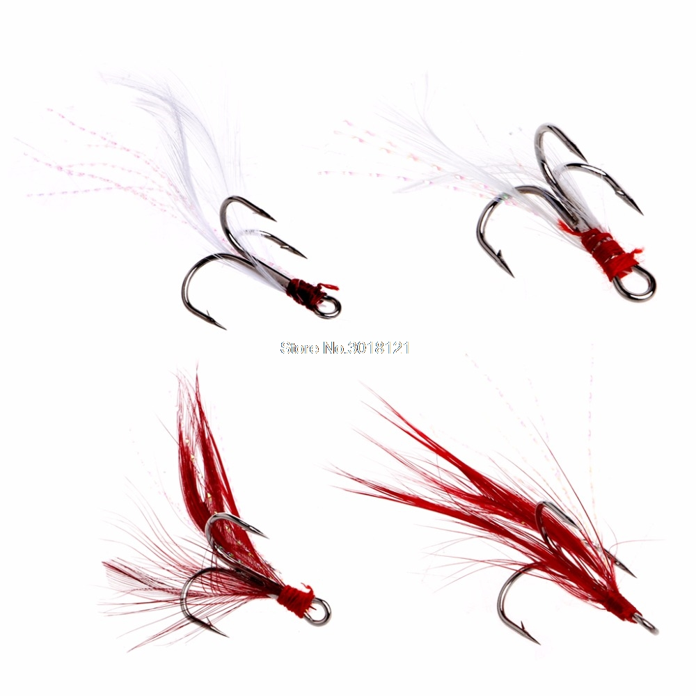 Fishing Soft Lures Treble Hooks Feather Barbed Fishhooks Tackles Accessories New Drop ship