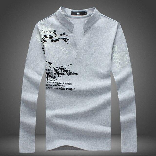 2017 New Polo Shirt Men Casual Style Spring Summer Printed Shirt Long Sleeve Hip Hop Cotton Breathable Casual Mens Polos M-5XL