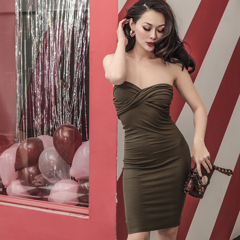 Europe And America Vintage Palace Woman Classic Elegant Practical Sexy Tube Top Irregular Fold Elastic Wrapped Chest Dresses