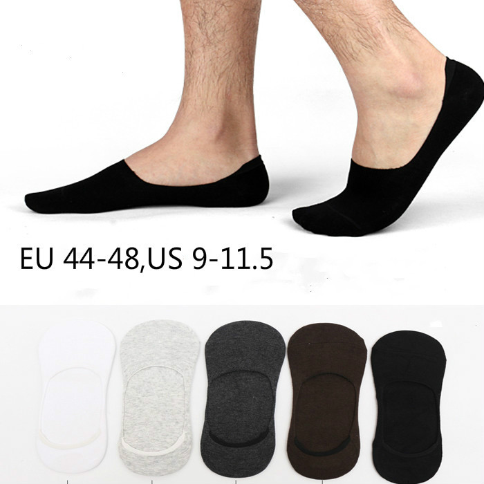 1 lot= 5 pairs Plus size Men's sock slippers cotton  Non-slip Silicone Invisible No show Boat Socks Summer autumn  Fashion Male
