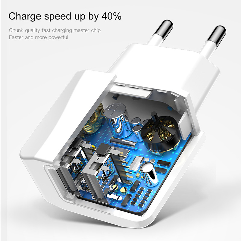 Baseus Dual Usb Charger Eu Plug Quick Lading 2.1A Wall Charger Max Mobiele Telefoon Opladen Mini Adapter Travel Charger Voor iphone 4