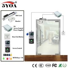 Kit de sistema de Control de acceso RFID con huella dactilar para puerta de gafas de madera, cerradura magnética, Keytab con tarjeta de identificación, cargador de energía y botón