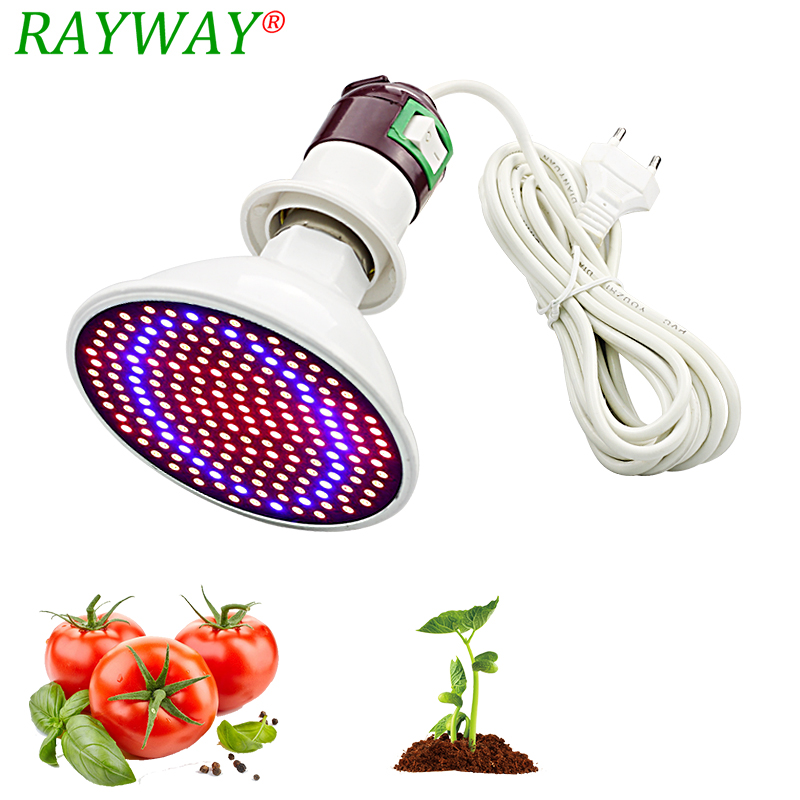 200 Led Plant Grow Light Lamp Bulbs Ac Power Cable Adapter Holder Flower Growing For Indoor Greenhouse Seedling Hydro System