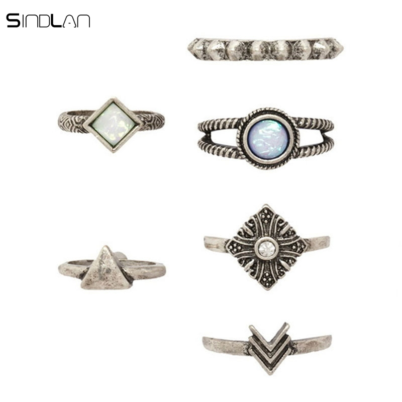 Sindlan Fashion Charm Bohemian Jewelry Crystal Opal Ring 6pcs Set Vintage Geometric Shaped Arrows Boho Knuckle