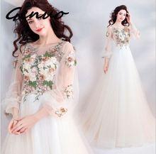 女性 新 6907 ネックロングスリーブメッシュドレスの女性のエレガントなフリルマキシドレス