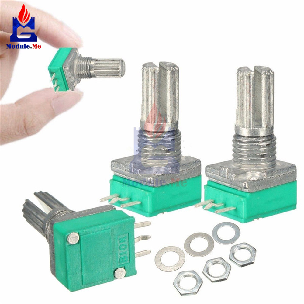 5Pcs 6mm B10K 3Pin Single Linear Rotary Potentiometer 15mm Knurled Shaft Potentiometers 10K Ohm With Nuts And Washers rv16yp 10s b10k b10k potentiometer with fixed feet