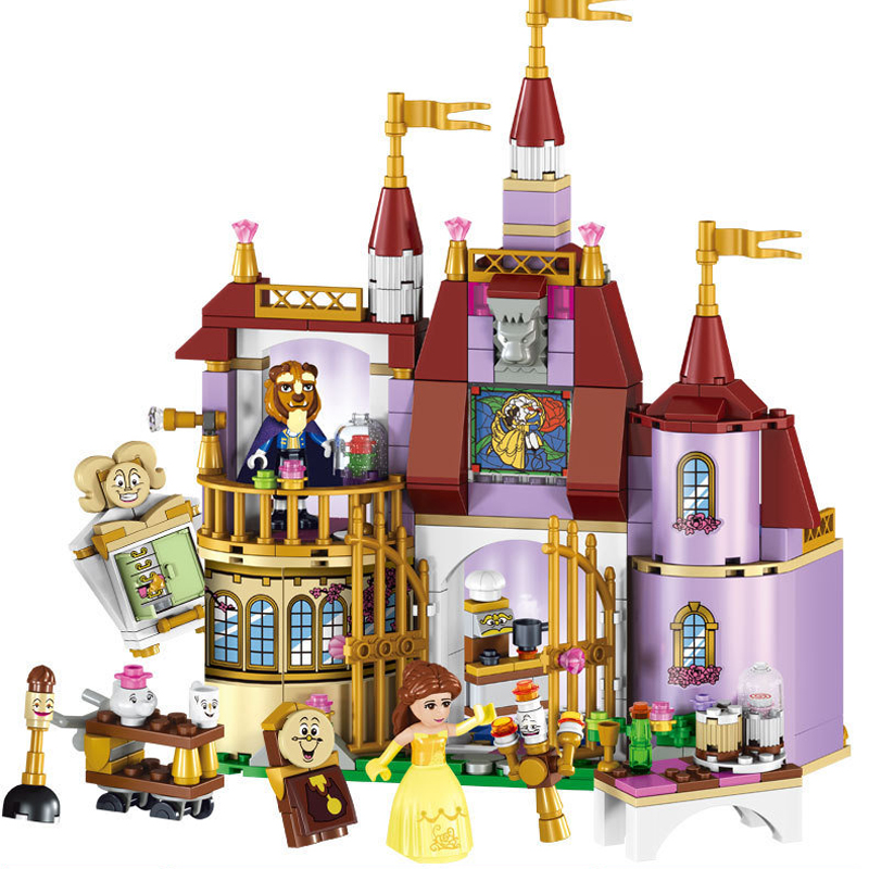 Beauty and the Beast Castle with Belles Figures Building Bricks Blocks Toys for Girls Compatible with Legoings