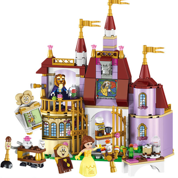 Beauty and the Beast Castle with Belles Figures Building Bricks Blocks Toys for Girls