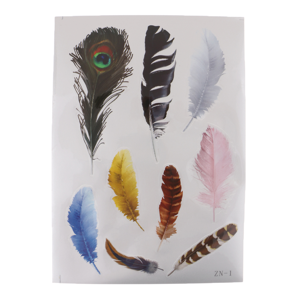 1 Pc Colorful Feathers Car Stickers Waterproof Creative Vinyl Decal  For Car Laptop Tabl Reflective Stickers