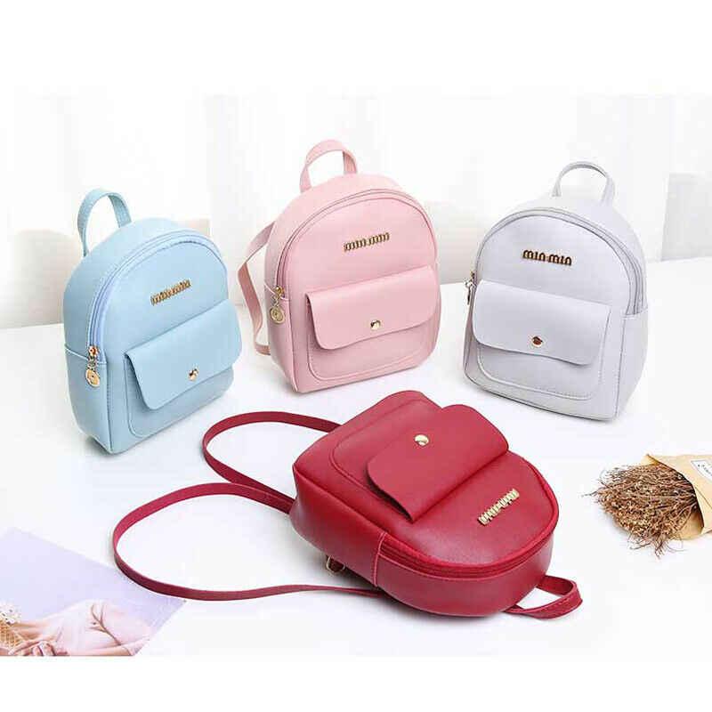 Estilo coreano Doce Mulheres Novo Pequeno Mini Mochila de Couro PU bolsa de Ombro Mochila Escolar Senhoras Meninas Casual Simples Mala de viagem
