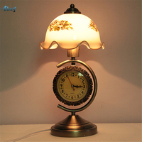 American Retro Clock Table Lamp Iron Art Glass Light for Living Room Bedroom Bedside Art Deco Desk Lamp Lantern Lighting Fixture