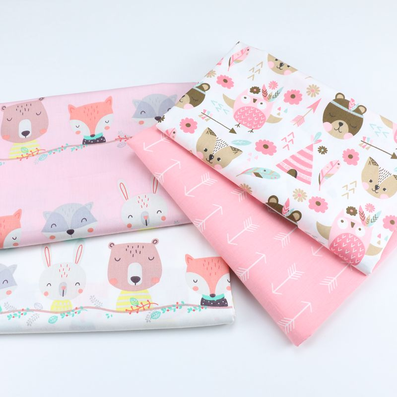 160cm*50cm cotton fabric pink Fox Arrow bear Owl fabric baby DIY bedding apparel dress patchwork fabric kids handwork cloth