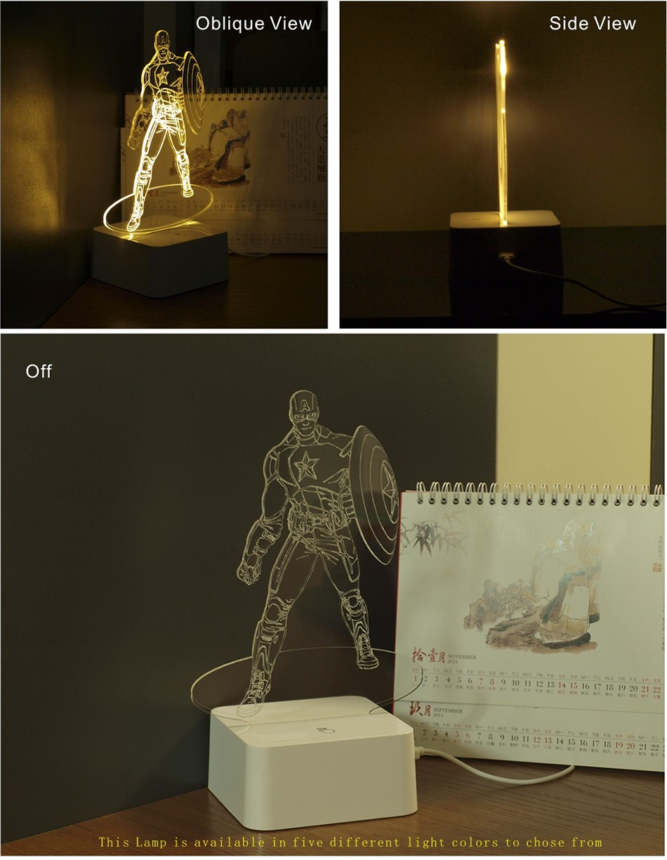 Novelty for American Captain 3D Iluminacion Led Dimmable Touch Table Lamp Desk Nightlights (2)