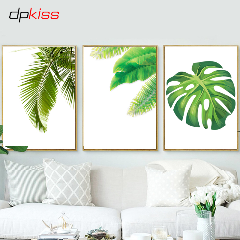 Dpkiss Green Canvas Painting Leaves Decor Nordic Animals Poster Art Print Poster Wall Art Home Decor Canvas Painting Poster
