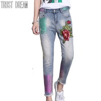 TRUST DREAM Europeans Style Women Slim Painted Ripped Harm Pants Decor Red Flower Button Fly Female