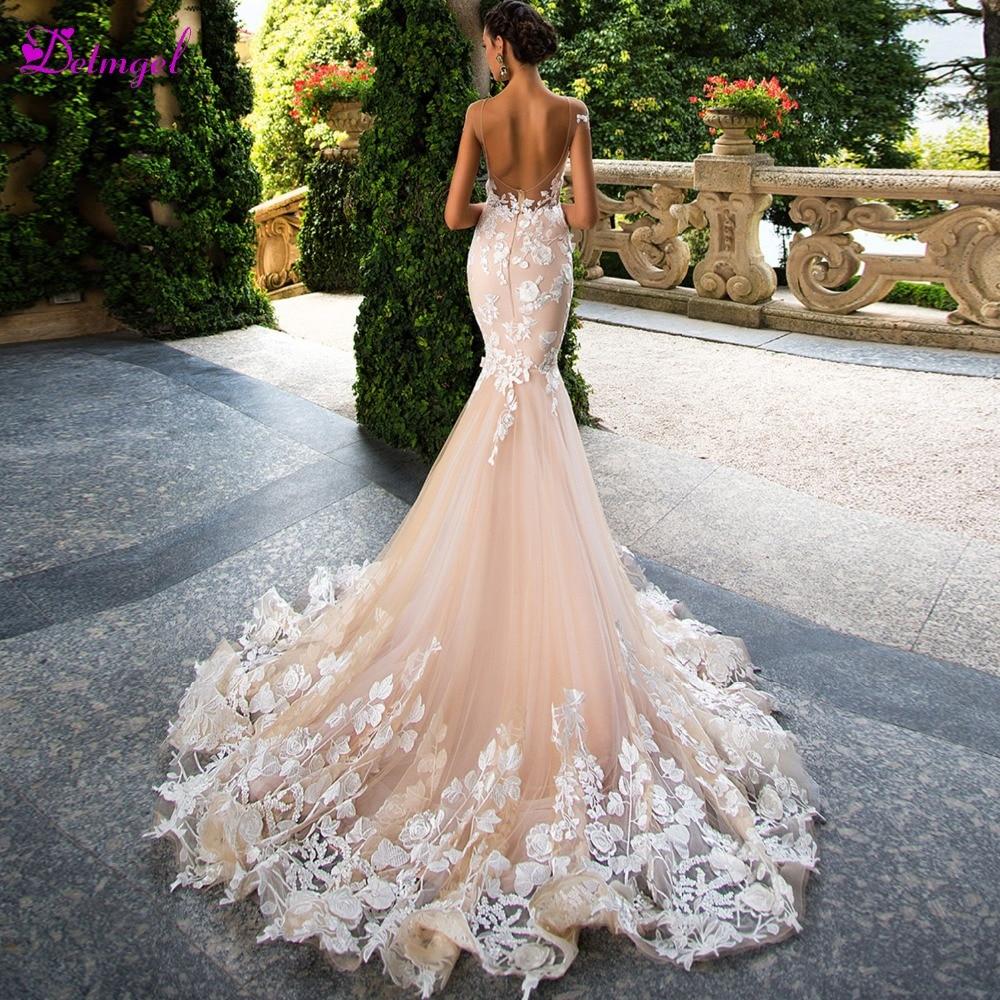 Detmgel New Design Sexy Backless Scoop Neck Mermaid Wedding Dress 2019 Cap Sleeve Appliques Princess Bride Gown Vestido De Noiva