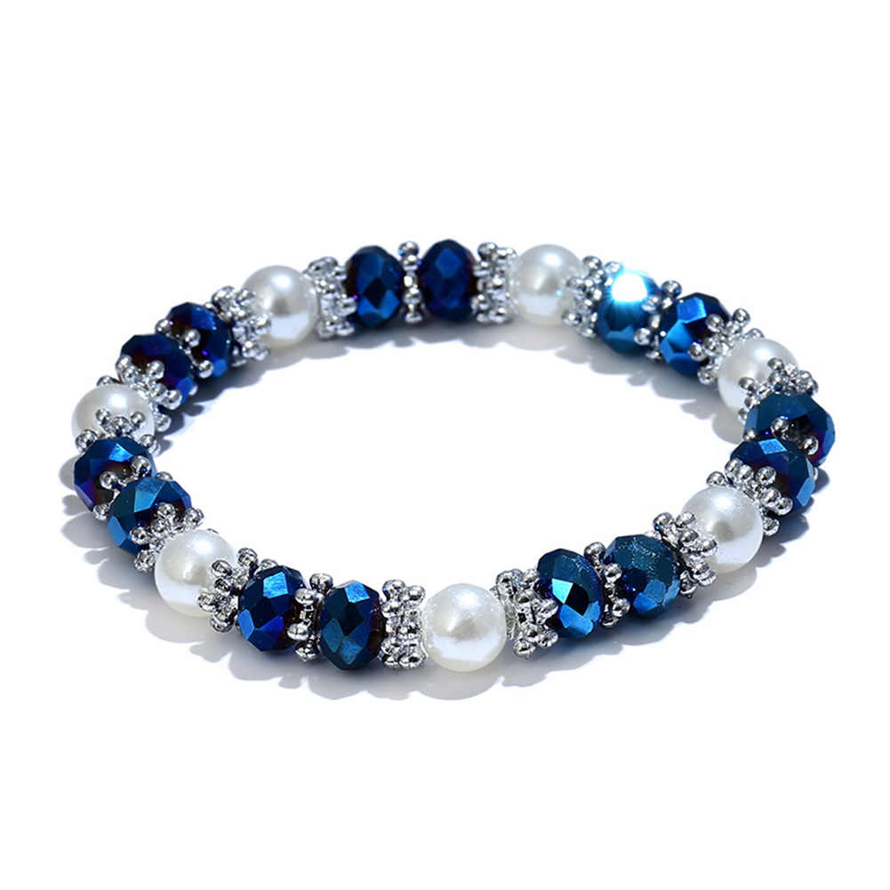 Shiny Colorful Rhinestone Faux Pearl Bracelet Bangle Women Jewelry Birthday Gift