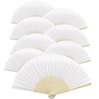 YHYS 10 pcs/lot 21cm White Color Fabric Hand Fan, Silk Hand Fan Wedding Party Promotion Favor