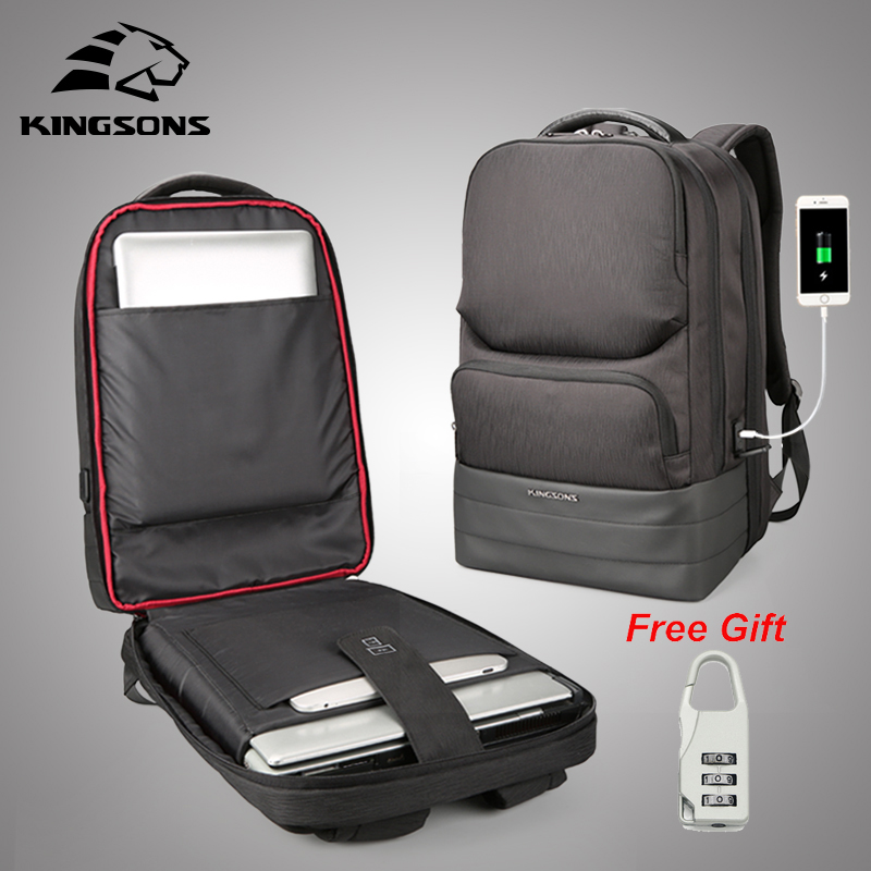 Kingsons 2018 New Anti theft Men Backpack 15.6 inch laptop bag Business Travel Fashion Backpack Male Mochila Bagpack Pack Design все цены