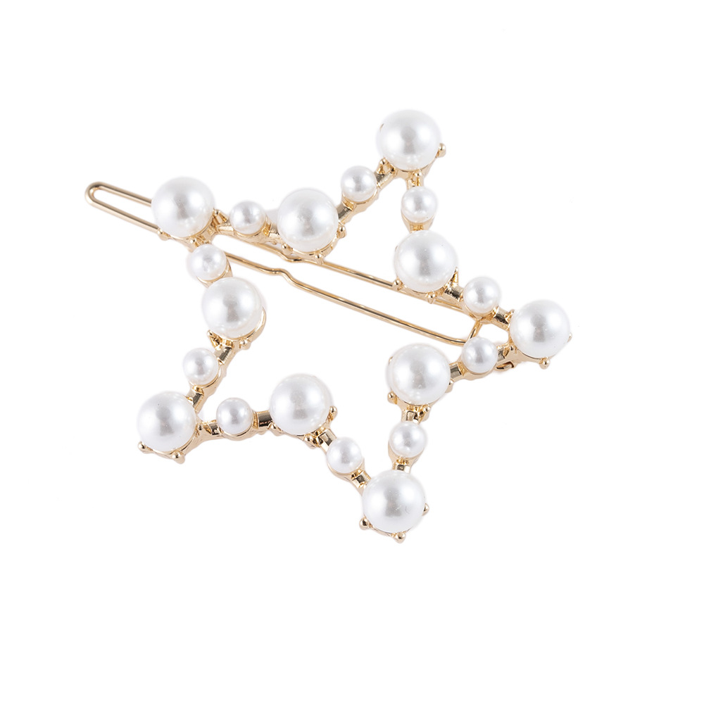 1pc Hair Clips For Women Card Issuing Card Pearl Hairpin Hair Accessories Rhinestone Hollow Five-pointed Star Headwear G0730