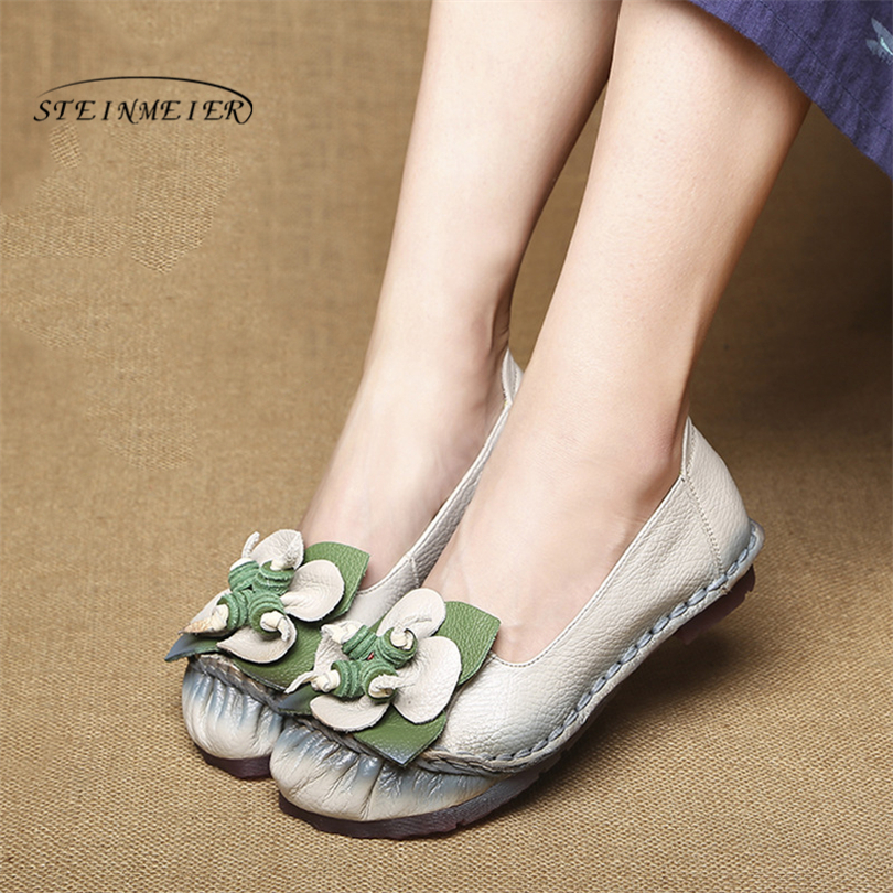 Women Ballet Casual Shoes Women Genuine Leather flower Shoes Flats Flexible Nurse Loafer Comfortable Mom Pregnant Shoes woman 2018 new genuine leather flat shoes woman ballet flats loafers cowhide flexible spring casual shoes women flats women shoes k726