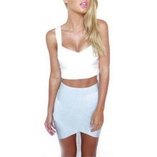 Women's Cross Patchwork Skirt Slim Pencil Mini Skirt Asymmetrical Hem Clubwear XS-L ZU98
