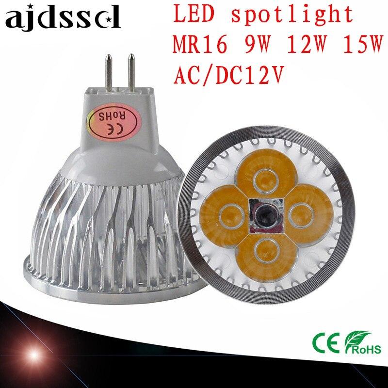LED Spotlight Dimmable led spot Lamp Super GU10 9W 12W 15W E27 E14 GU5.3 AC110V 220V MR16 AC&DC12V LED Spot LED Bulbs Lighting