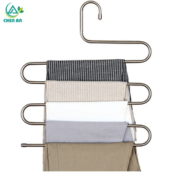 5 Tier Stainless Steel Racks S Shape Trousers Hanger Clothing Wardrobe Storage Organization Drying Hanger 1PC Pants rack