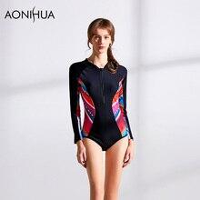 AONIHUA Womens Swimwear Long Sleeve Patchwork One Piece Bikini