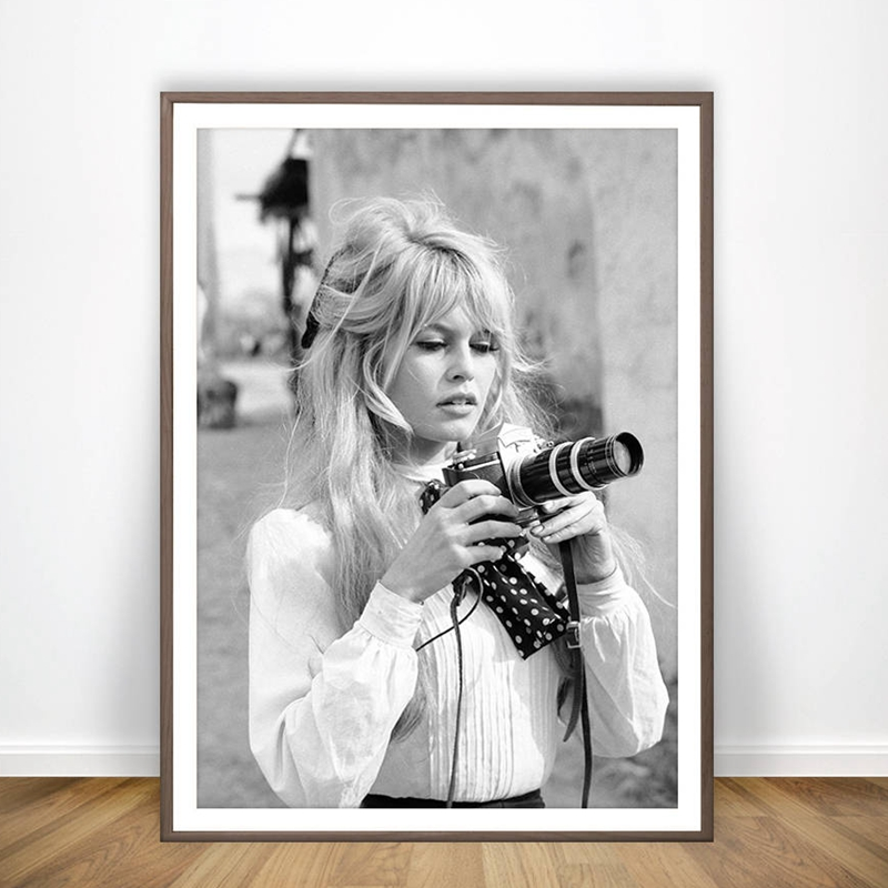 Brigitte Bardot French Fashion Poster Canvas Art Prints , Black And White Model Photo Vintage Picture Art Painting Wall Decor