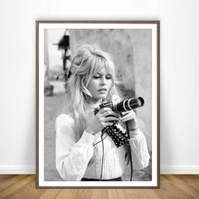 Brigitte Bardot French Fashion Poster Canvas Art Prints , Black and White Model Photo Vintage Picture Art Painting Wall Decor(China)