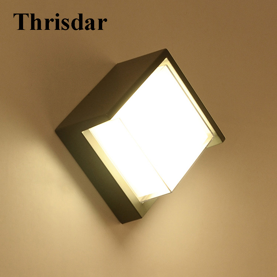 Thrisdar 10W Waterproof LED Wall Light LED Outdoor Garden Porch Wall Lamps Aluminum Fence Villa Corridor Aisle Sconce Light thrisdar 20w ip65 waterproof wall lamps 40leds outdoor garden porch wall sconce lamp corridor garden hotel pathway porch light