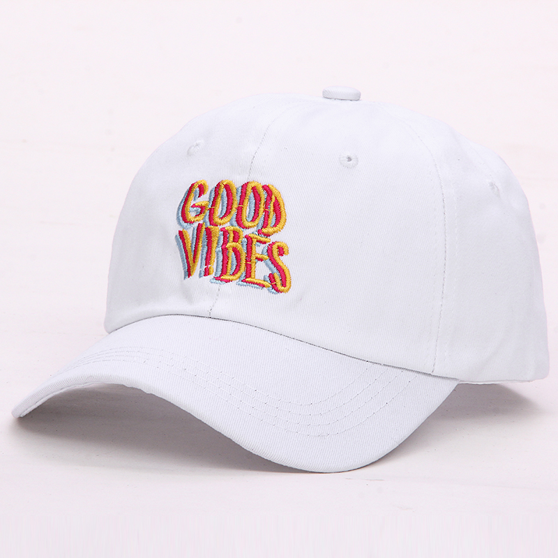 1f6f0a6c59da24 Good Vibes Dad Hat Embroidered Baseball Cap Curved Bill 100% Cotton Casquette  Brand Snapback Bone Women Men Fashion Hats-in Baseball Caps from Apparel ...