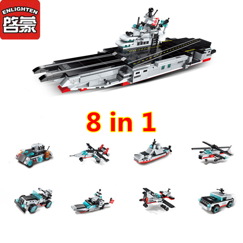 Enlighten 1406 8 in 1 Combat Zones Military Army Cars Aircraft Carrier Weapon Building Blocks Toys For Children aircraft carrier ship military army model building blocks compatible with legoelie playmobil educational toys for children b0388