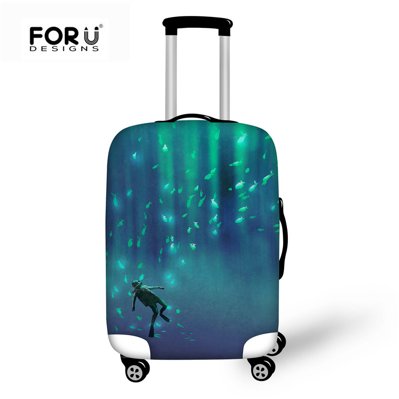 Cute 3D Deer Tree Head With Bird Pattern Luggage Protector Travel Luggage Cover Trolley Case Protective Cover Fits 18-32 Inch